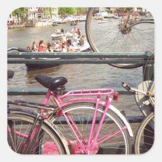 Bicis en Amsterdam Pegatina Cuadrada