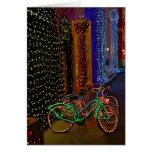 bicis en luces tarjeta de felicitación