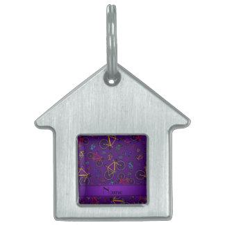 Bicis púrpuras conocidas personalizadas del camino placas de nombre de mascota