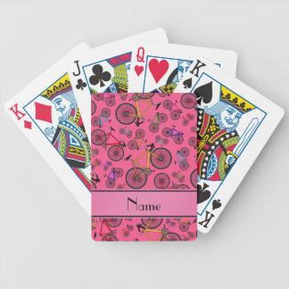 Bicis rosadas conocidas personalizadas del camino baraja de cartas