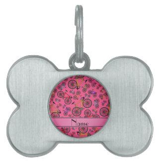 Bicis rosadas conocidas personalizadas del camino placa de nombre de mascota