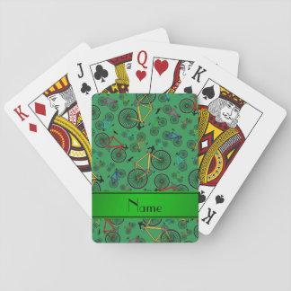 Bicis verdes conocidas personalizadas del camino baraja de cartas