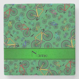 Bicis verdes conocidas personalizadas del camino posavasos de piedra