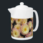 """Bicolor Chrysanthemums Floral Teapot<br><div class=""""desc"""">White ceramic teapot with lid that features the photo image of lovely,  bicolor Chrysanthemums of pale,  yellow and pink blossoms. Select from two teapot sizes. To see other products we have to offer,  click on the Northwestphotos store link.</div>"""