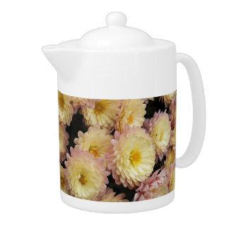 Bicolor Chrysanthemums Floral Teapot