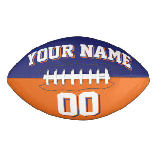 BICOLORED Navy Blue And Orange Custom Football