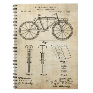 Bicycle 1896 Patent Print Spiral Notebook