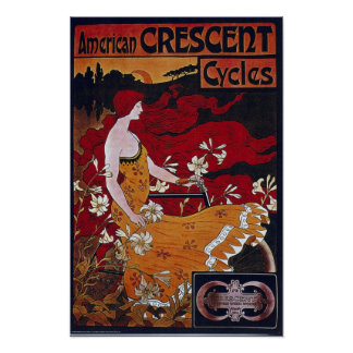 Bicycle Advertising Vintage American Crescent Poster