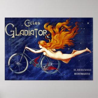 Bicycle Advertising Vintage Cycles Gladiator Poster