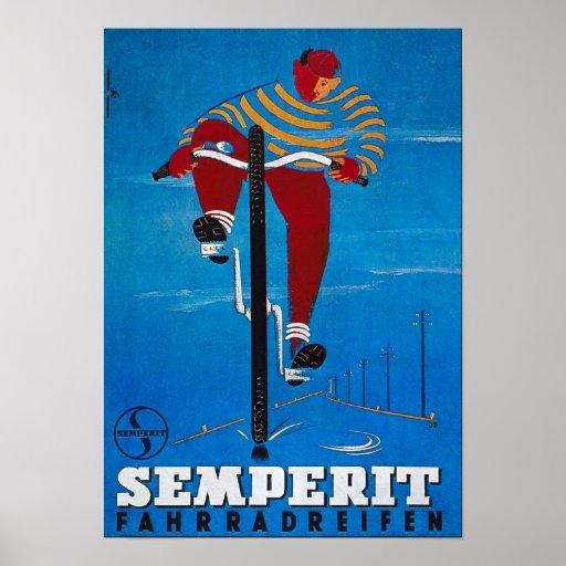 Bicycle Advertising Vintage Semperit Poster