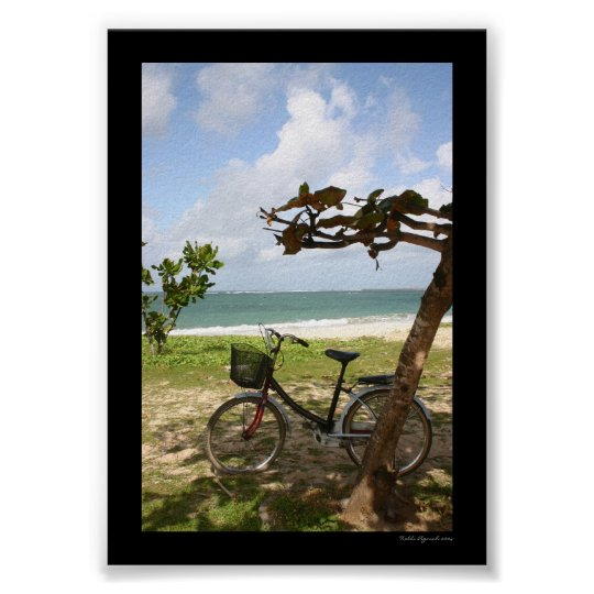 Bicycle Against Tree Poster
