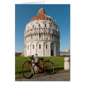 Bicycle and Baptistry of St. John, Pisa, Italy Card