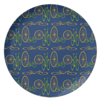 Bicycle and bike wheels pattern on blue plate. melamine plate