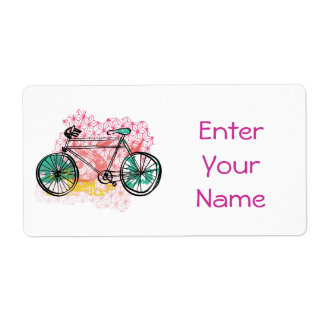 Bicycle and Floral Background Label