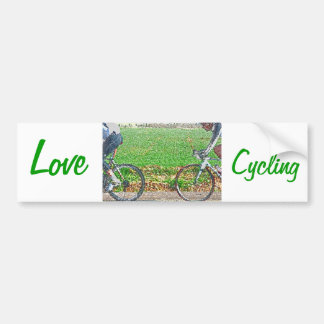 Bicycle Art, 2 Cyclists and Green Background Bumper Sticker