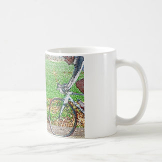 Bicycle Art, 2 Cyclists and Green Background Mugs