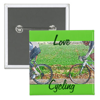 Bicycle Art, 2 Cyclists and Green Background Pinback Button