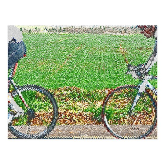 Bicycle Art, 2 Cyclists and Green Background Postcard