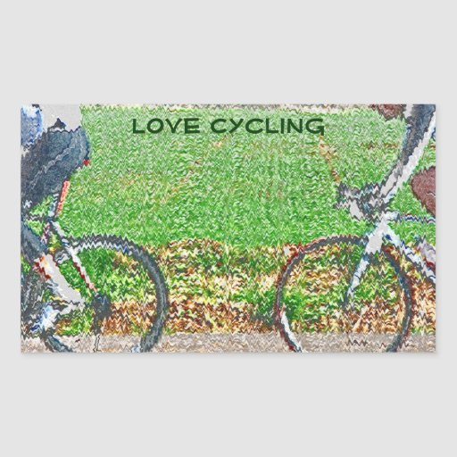 Bicycle Art, 2 Cyclists and Green Background Rectangular Sticker