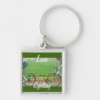 Bicycle Art, 2 Cyclists and Green Background Silver-Colored Square Keychain