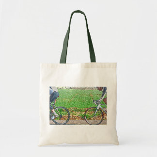 Bicycle Art, 2 Cyclists and Green Background Tote Bag