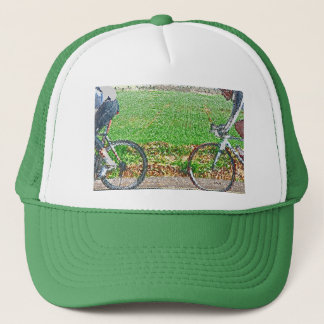 Bicycle Art, 2 Cyclists and Green Background Trucker Hat