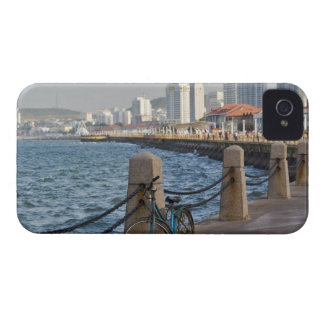 Bicycle at waterfront with Yantai city skyline, iPhone 4 Case