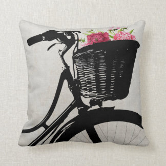 Bicycle Basket with Peonies Throw Pillow