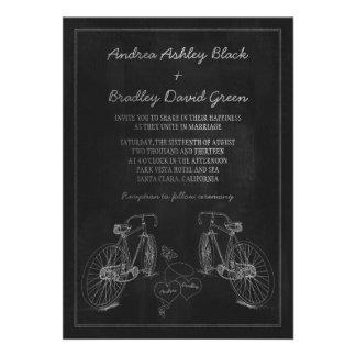 Bicycle Bike Chalkboard Hearts Wedding Invitation