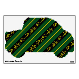 Bicycle Bike Green Black Yellow Stripes Wall Decal