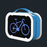 """bicycle - biking   bike lunch box<br><div class=""""desc"""">A blue simple graphic bicycle image. The color of the bike can be easily customized,  using the &quot;customize it&quot; button &gt; edit &gt; background.</div>"""