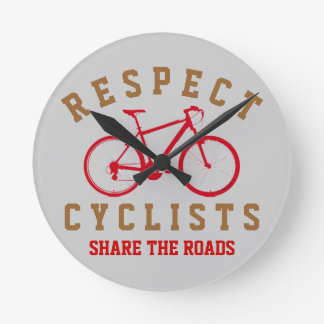 bicycle - biking + bike round clock