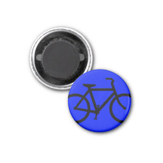 Bicycle: Black on Blue 1 Inch Round Magnet