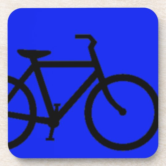 Bicycle: Black on Blue Drink Coaster