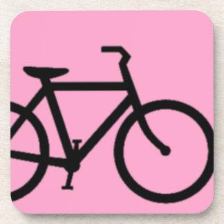 Bicycle: Black on Pink Beverage Coaster