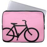 Bicycle: Black on Pink Computer Sleeve