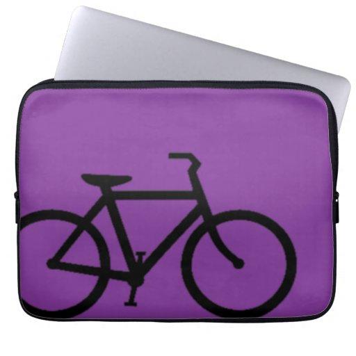 Bicycle: Black on Purple Laptop Sleeves