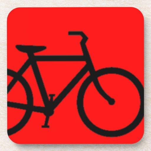 Bicycle: Black on Red Coasters