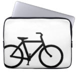 Bicycle: Black on White Laptop Computer Sleeves