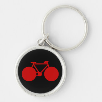 bicycle . black red biker key Silver-Colored round keychain