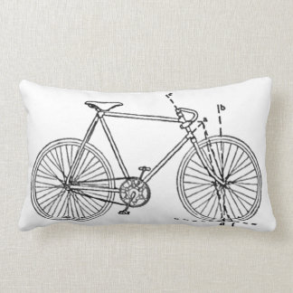Bicycle Blueprint Lumbar Pillow