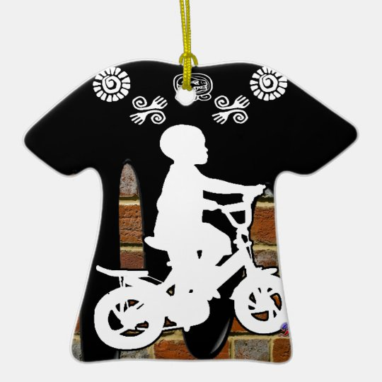 BICYCLE BOY BRICK BACKGROUND PRODUCTS CERAMIC ORNAMENT