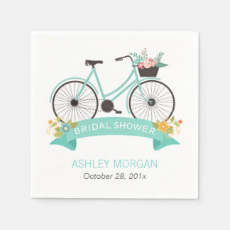 Bicycle Bridal Shower Party Mint Green Floral Paper Napkin