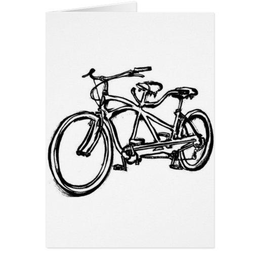 Bicycle built for 2 (antique schwinn tandem) bike greeting cards
