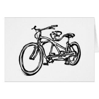 Bicycle built for 2 (antique schwinn tandem) bike greeting card