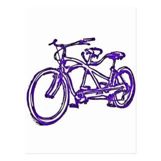 Bicycle built for 2 (antique schwinn tandem) bike postcard