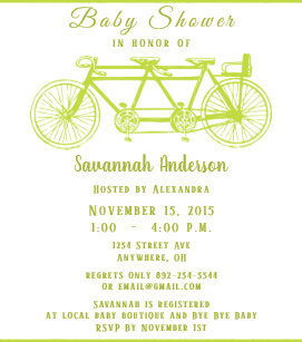 Bicycle baby shower invitations zazzle bicycle built for 3 retro lime bicycle baby shower invitation filmwisefo