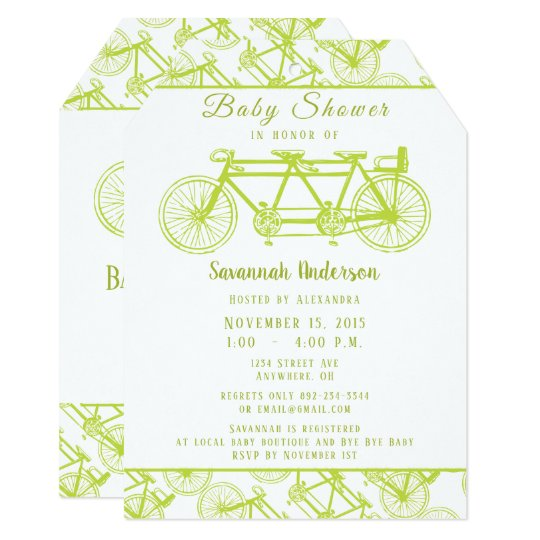 Bicycle built for 3 retro lime bicycle baby shower invitation bicycle built for 3 retro lime bicycle baby shower invitation filmwisefo