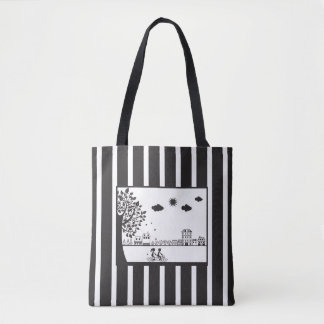 Bicycle Built for Two Black & White Striped Tote