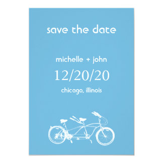 Bicycle Built For Two Save The Date A (Sky Blue) Card